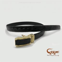 Thắt lưng da cá sấu bông bi màu đen - TCGB351P1