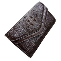 Túi đeo da cá sấu kiểu 2 nắp màu nâu