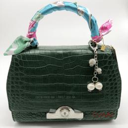 Túi xách da cá sấu thật- màu xanh lá