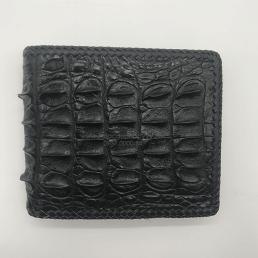 Ví da cá sấu gai lưng đan viền màu đen