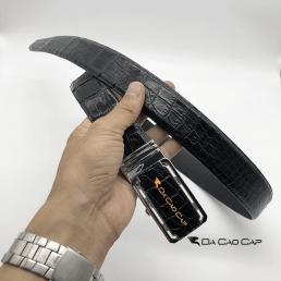 Thắt lưng da bụng cá sấu màu đen bản 3.5 cm