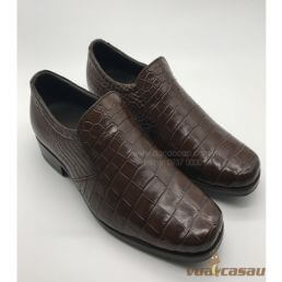 Giày da cá sấu màu nâu mũi vuông