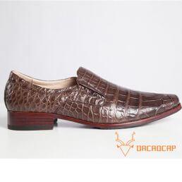 Giày nam da cá sấu da bụng màu nâu