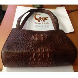 Túi xách da cá sấu màu nâu đất