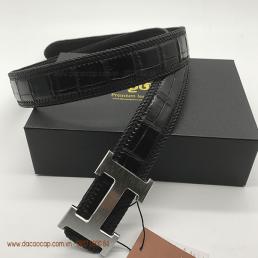 Thắt lưng da cá sấu bản 4.0 đan viền màu đen