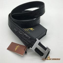 Thắt lưng da cá sấu đan viền màu đen