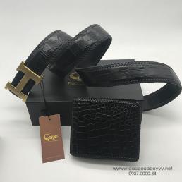 Bộ ví + Thắt lưng da cá sấu đan viền cao cấp