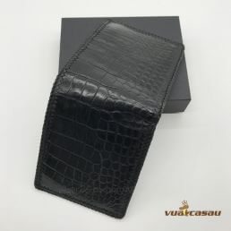 Ví da cá sấu đan viền màu đen