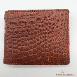 Ví da cá sấu bông bi màu nâu đỏ