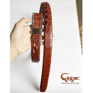 Thắt lưng da cá sấu nguyên con màu nâu đỏ
