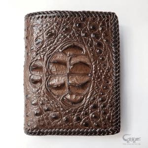 Bóp da cá sấu đan viền thủ công VCFL951223IHM