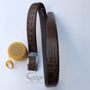 Dây nịt da cá sấu vân bông bi bản 4 cm