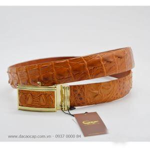 Thắt lưng da cá sấu nguyên con vàng bò bản 4 cm