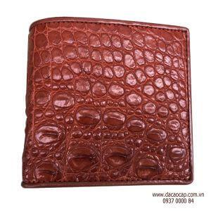 Ví da cá sấu bông hông màu nâu đỏ