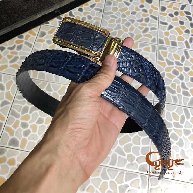 Thăt lưng da ca sâu mau xanh navi - ma tcno355 - 2