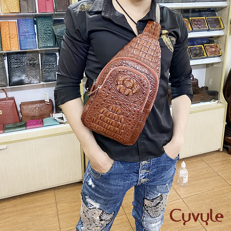 Túi đeo chéo da cá sấu nguyên con cao cấp tc331807 - 10