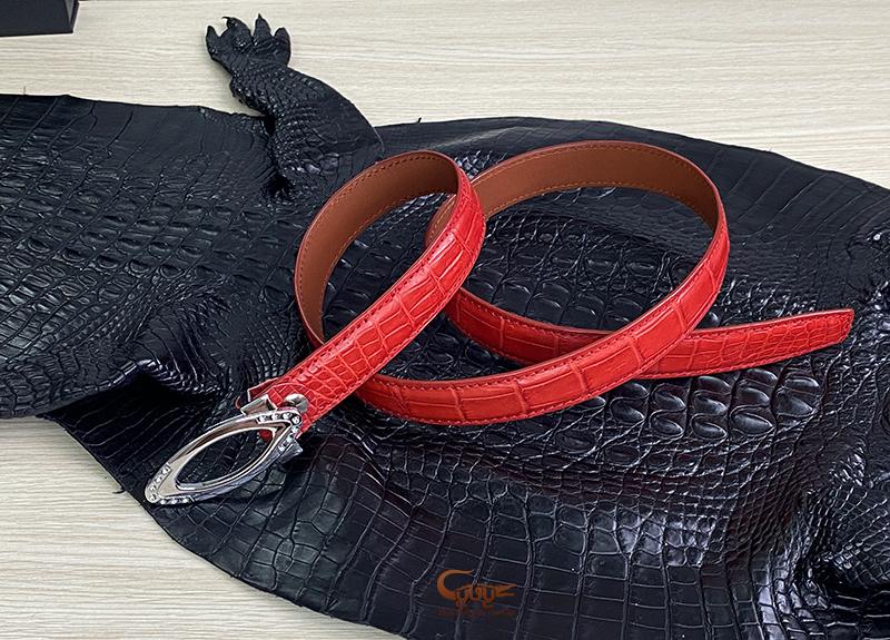 Dây nịt da cá sấu thật màu đỏ - 1