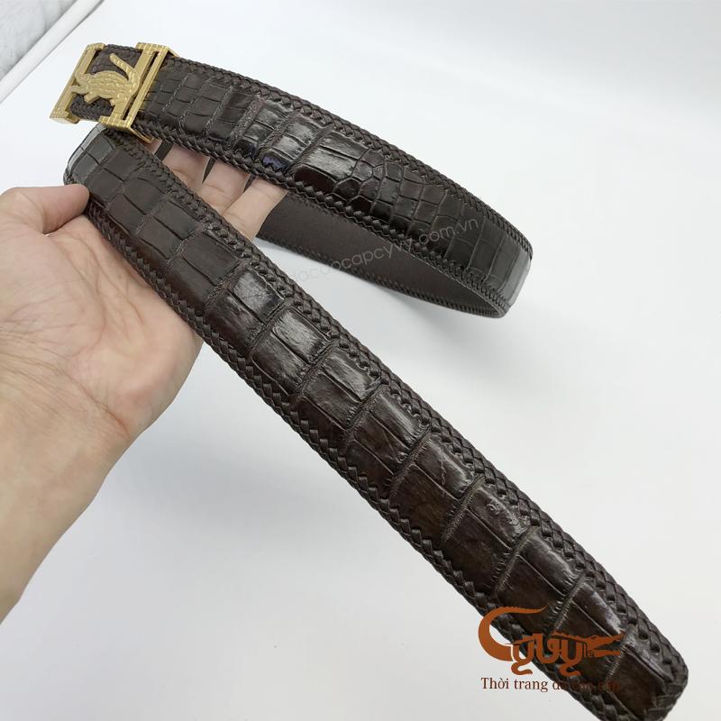 Thắt lưng da cá sấu đan viền cao cấp