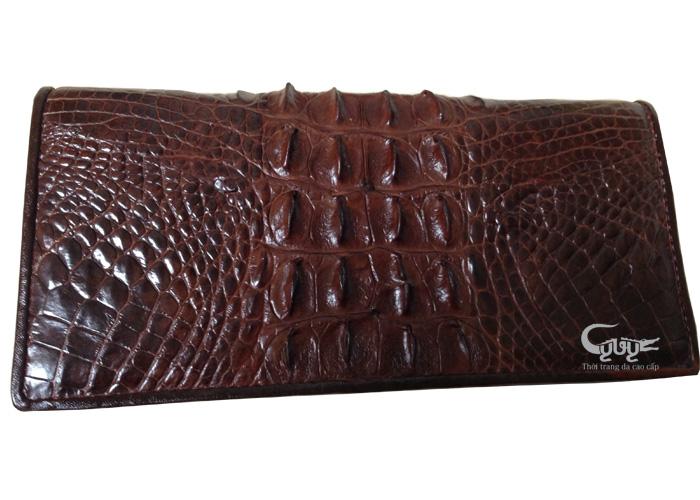 Ví da cá sấu nữ gấp 2 nâu đen