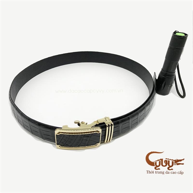 Thắt lưng da bụng cá sấu màu đen mã - TCLA351P6