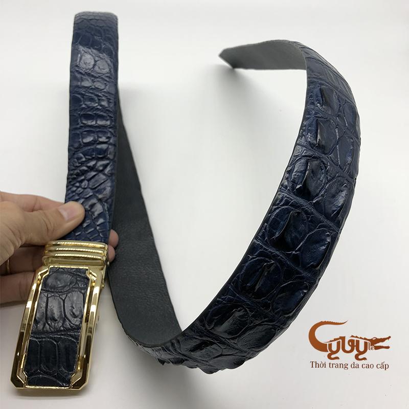 Thắt lưng da cá sấu màu xanh navi - mã: TCGC356