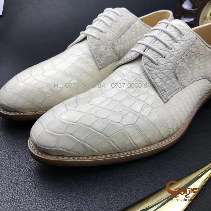 Giày nam da cá sấu xịn màu trắng