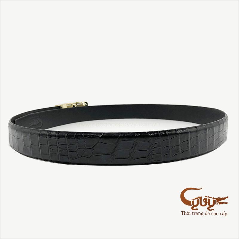Thắt lưng da bụng cá sấu màu đen - TCCL350