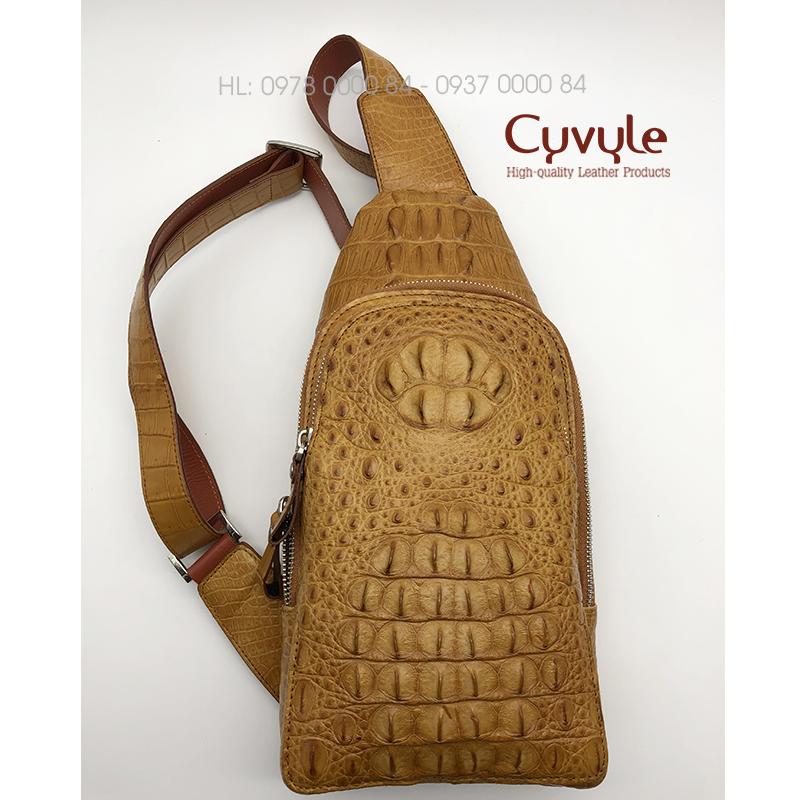 Túi đeo chéo da cá sấu cao cấp màu vàng