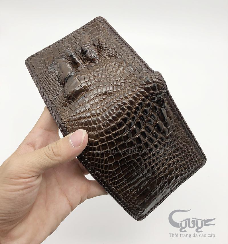 Ví nam da bàn chân cá sấu đan viền VCJ952HM