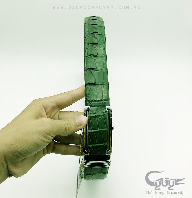 Dây nịt da cá sấu màu xanh lá TCGC355