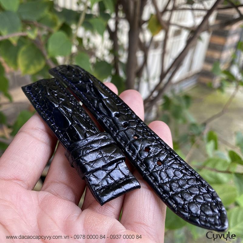 Dây đồng hồ da chân cá sấu lớn
