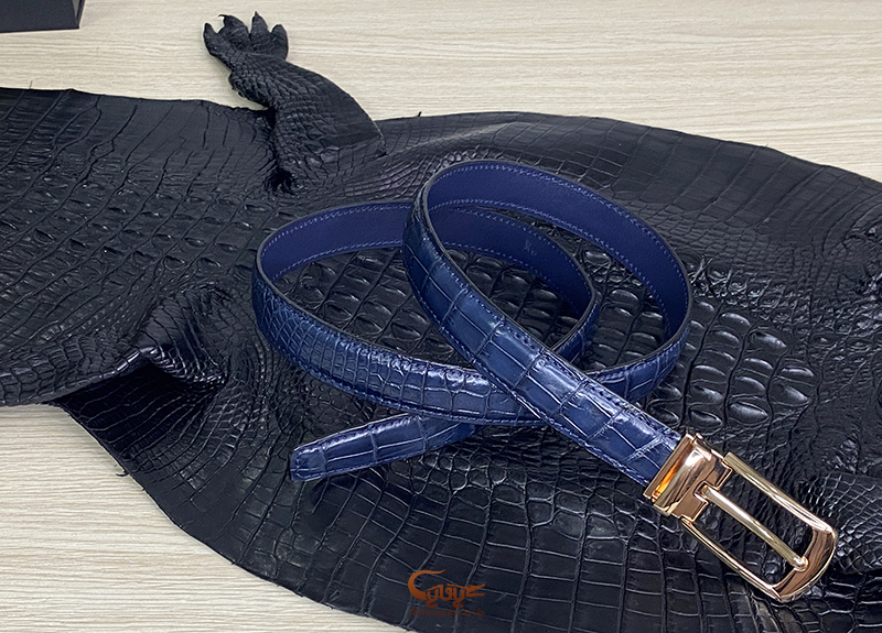 Thắt lưng nữ da cá sấu màu xanh navi