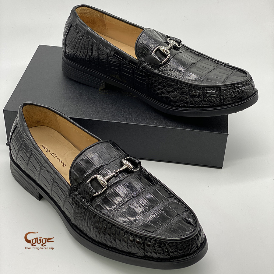 Giày lười da cá sấu đế cao GC.GLT