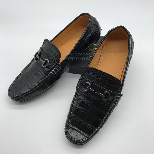 Giày lười da cá sấu màu đen