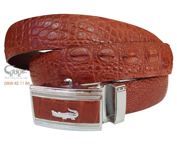 Thắt lưng da cá sấu nâu đỏ