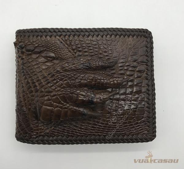 Ví bàn tay da cá sấu màu nâu dan viền