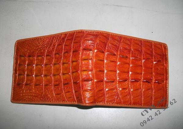 Ví da cá sấu gai lưng màu vàng