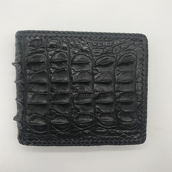 Ví da cá sấu gai lưng đan viền màu đen - 5