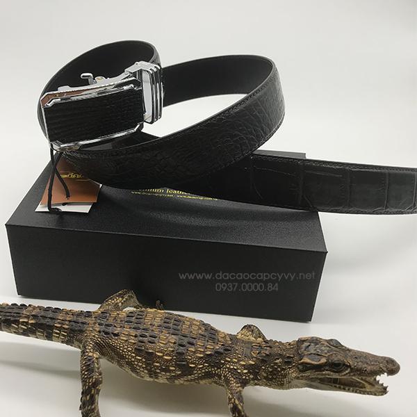 thắt lưng da cá sấu bản 4cm may viền - 2