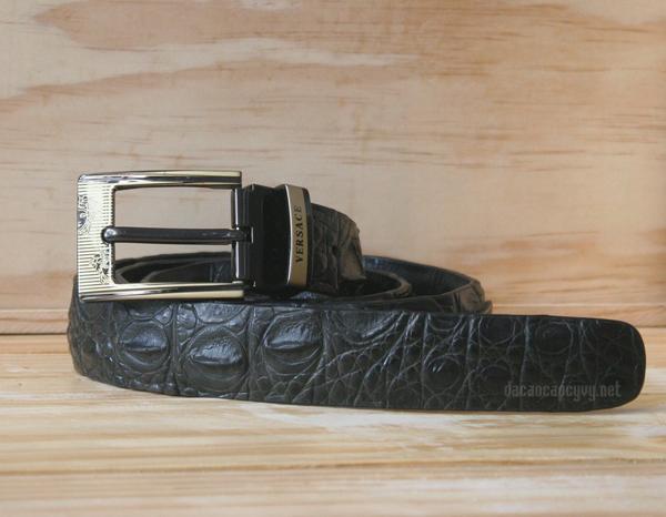 dây nịt da cá sấu màu đen