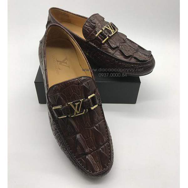Giày nam da cá sấu cao cấp màu nâu - 1