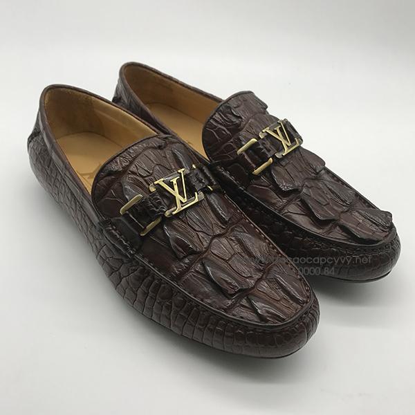 Giày nam da cá sấu cao cấp màu nâu - 2