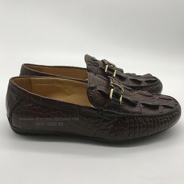 Giày nam da cá sấu cao cấp màu nâu - 3