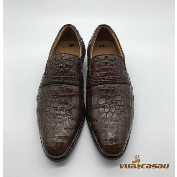 Giày da cá sấu màu nâu đất da hông - 5
