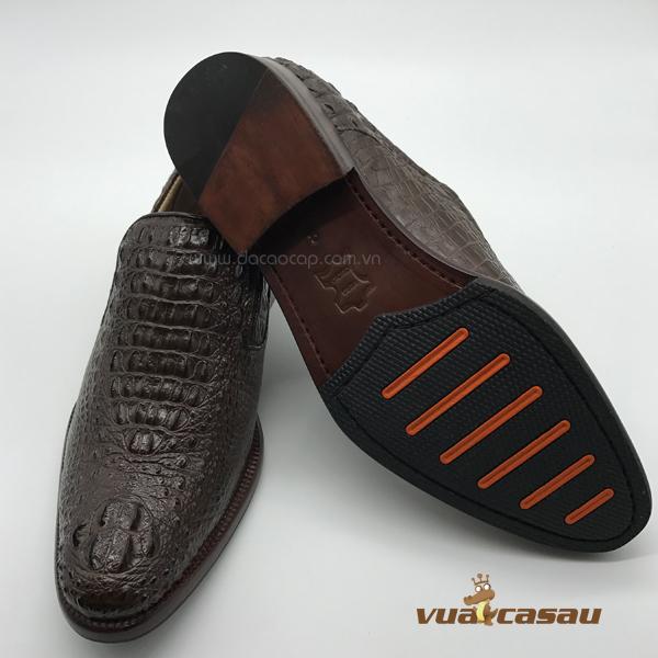 Giày da cá sấu nguyên con màu nâu - 2