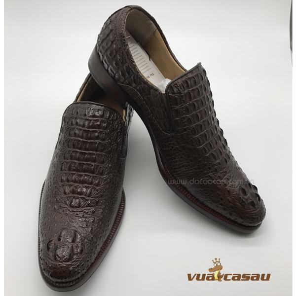 Giày da cá sấu nguyên con màu nâu - 3