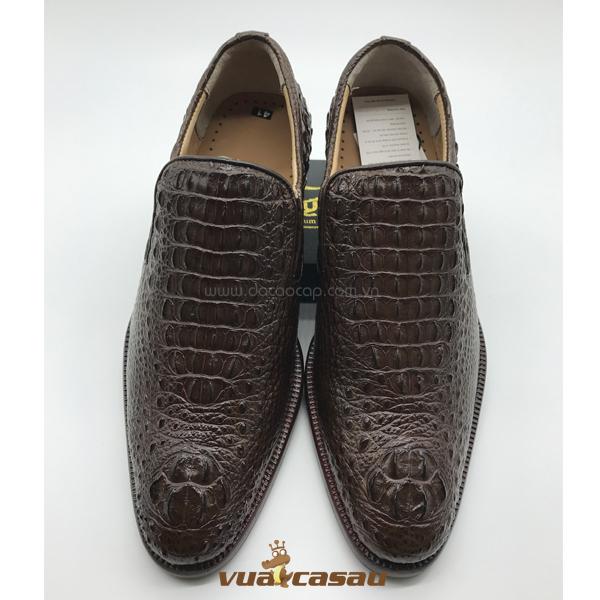 Giày da cá sấu nguyên con màu nâu - 4