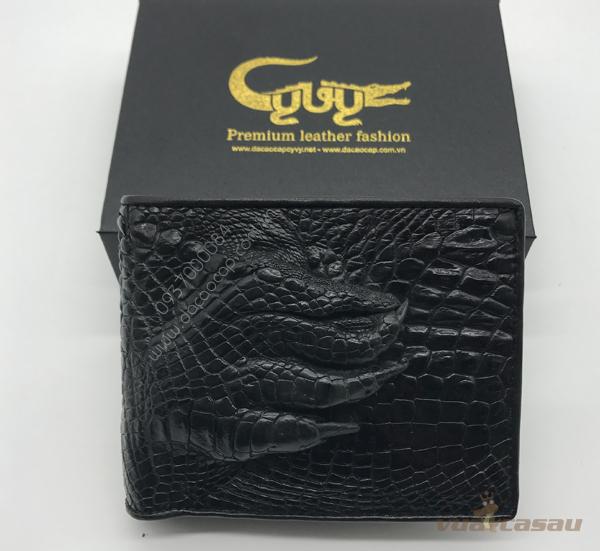 Ví nam bàn chân cá sấu thật màu đen - 3