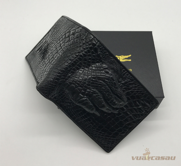 Ví nam bàn chân cá sấu thật màu đen - 1