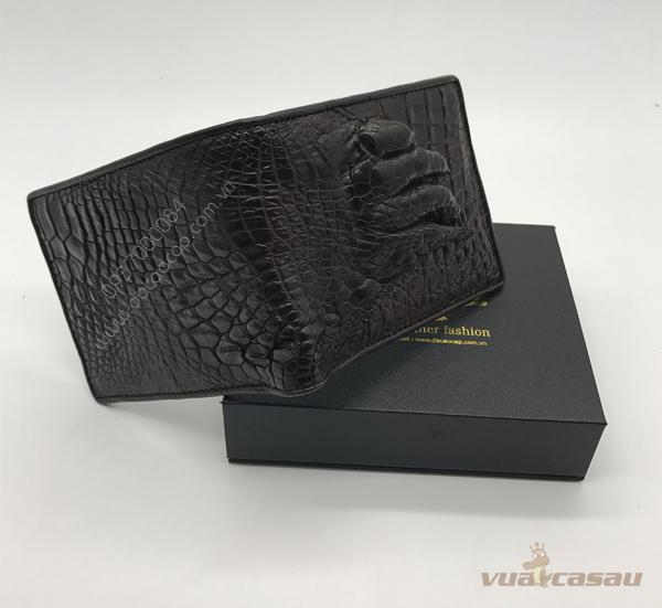 Bóp bàn tay cá sấu thật màu nâu đen - 8